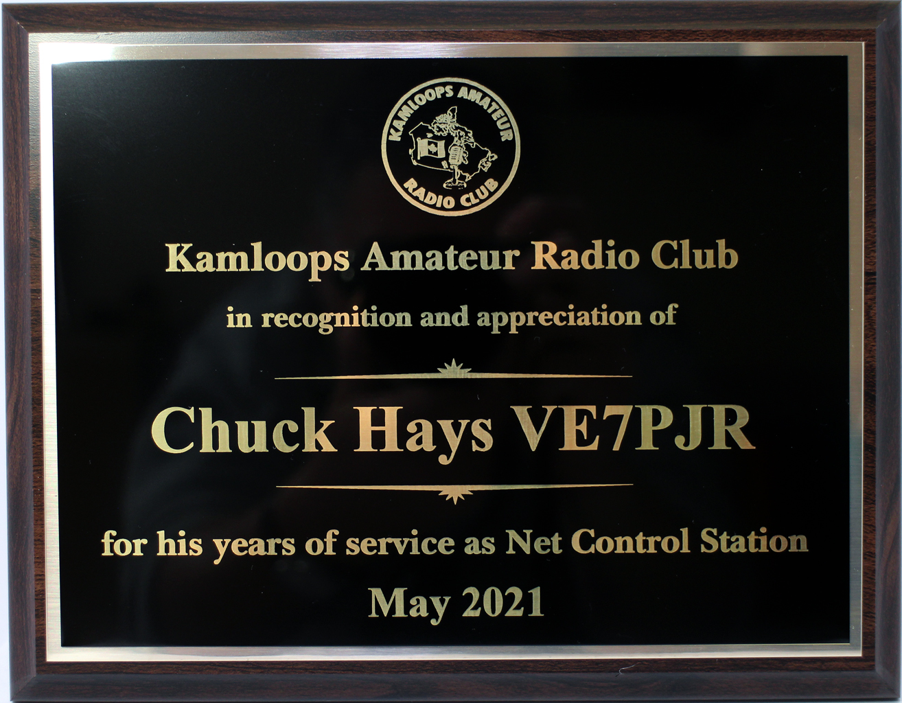 Appreciation Award presented to Chuck, VE7PJR for his service as Net Control