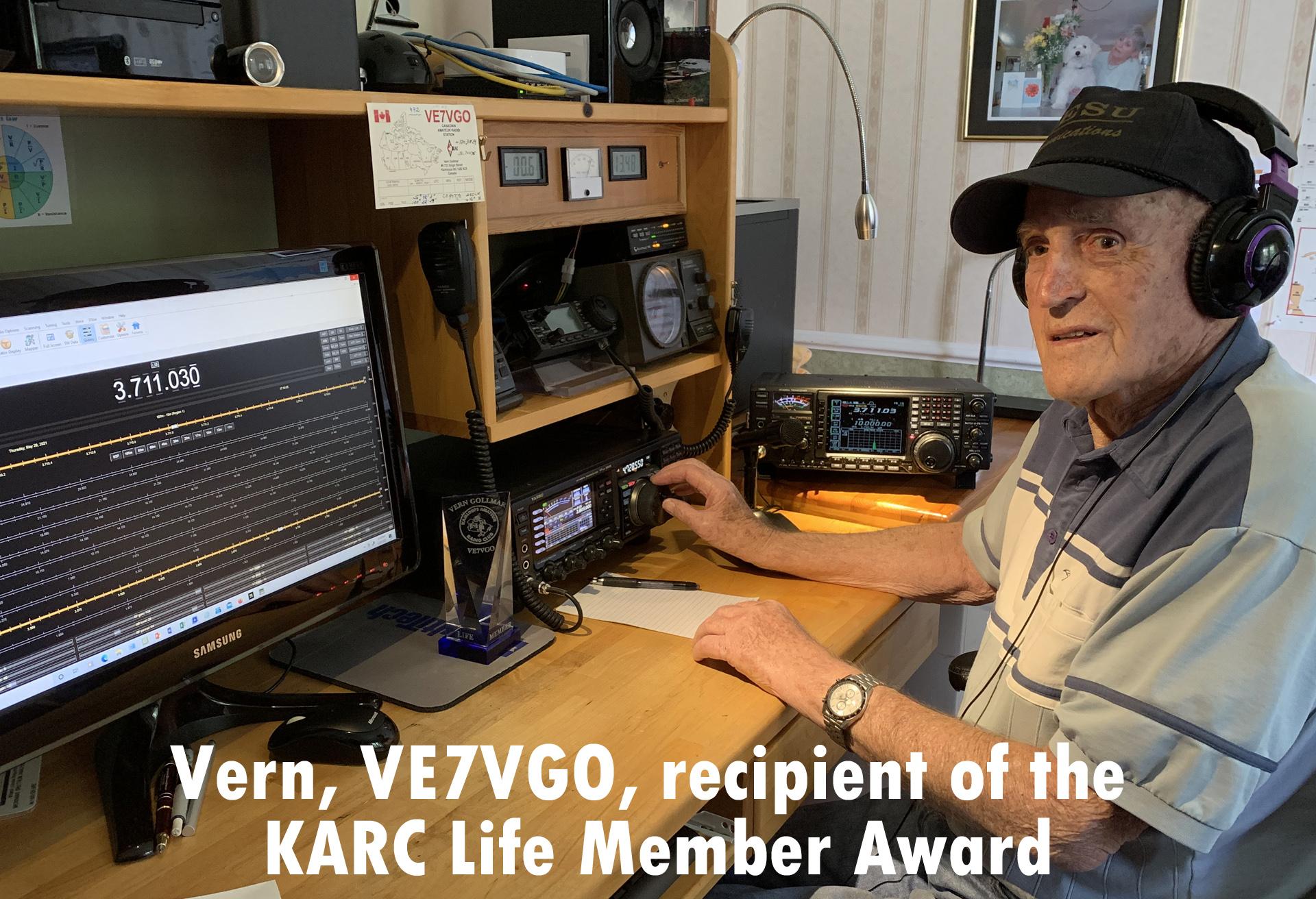 Vern, VE7VGO, recipient of the KARC Life Member Award