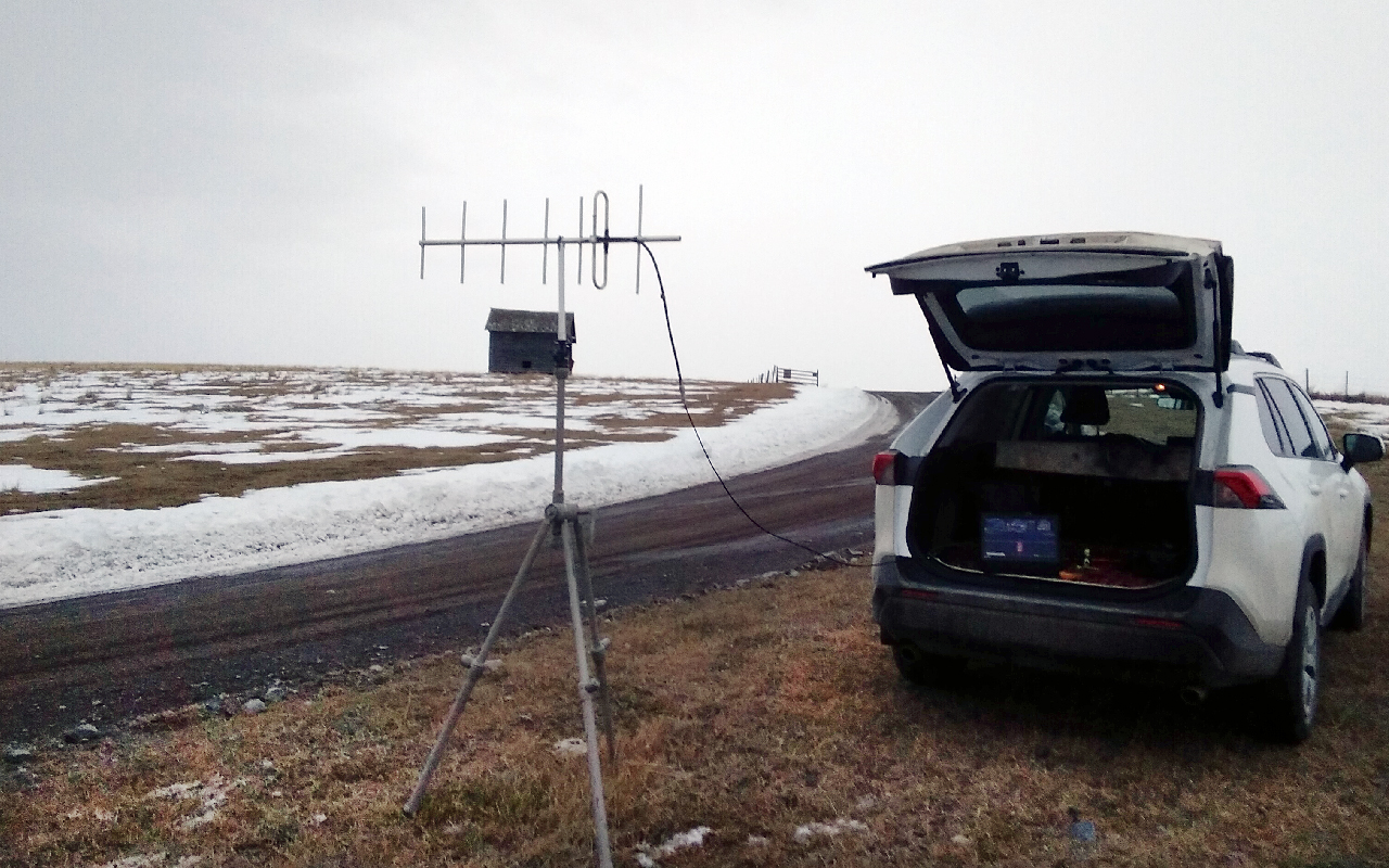 Tracking a weather balloon and radio-sonde from Rose Hill Road.