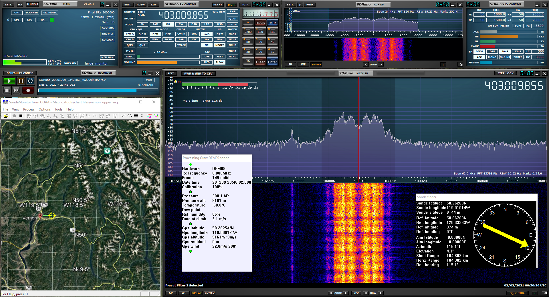 Screenshot of SDRUno and SondeMonitor receiving and decoding the signal from the radio-sonde.  The SondeMonitor software shows a map of the current location, the GPS coordinates, altitude and rise-rate.