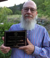 VE7PJR Chuck with his award